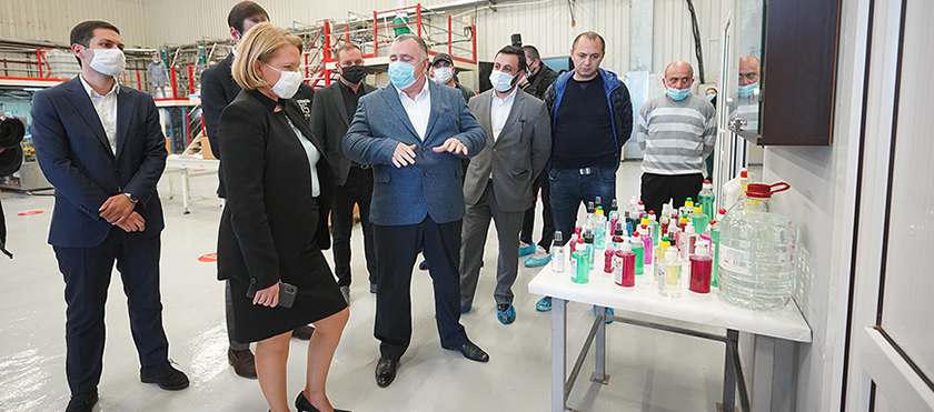 Natia Turnava at Enterprises Producing Sanitizers - 15.05.2020