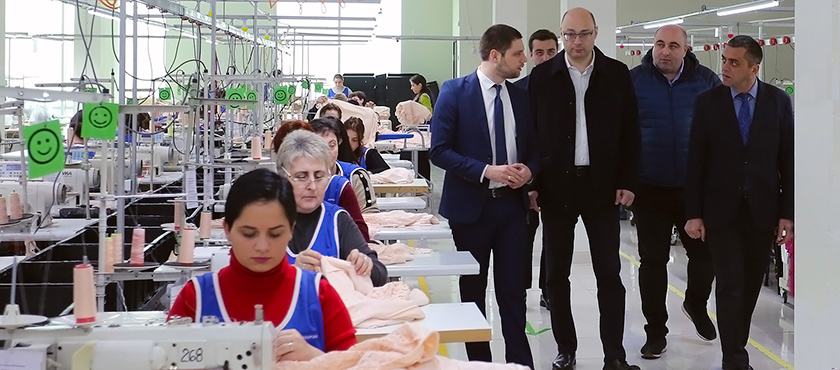 George Kobulia at Textile Enterprise MGM TEX in Kutaisi - 15.02.2019