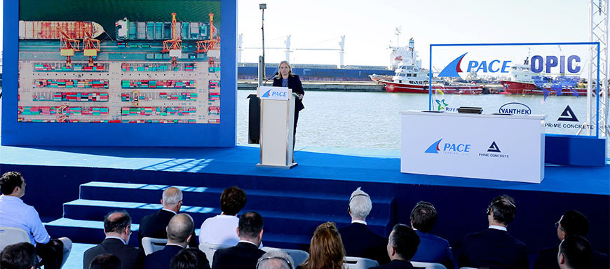 Natia Turnava delivers speech at the event for launching the construction of a new port infrastructure in Poti Port - 1.10.2019